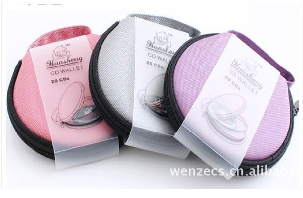Family Car Round Shaped 20 Pieces CD VCD Disc Zip up Holder Bag Free Shipping(China (Mainland))