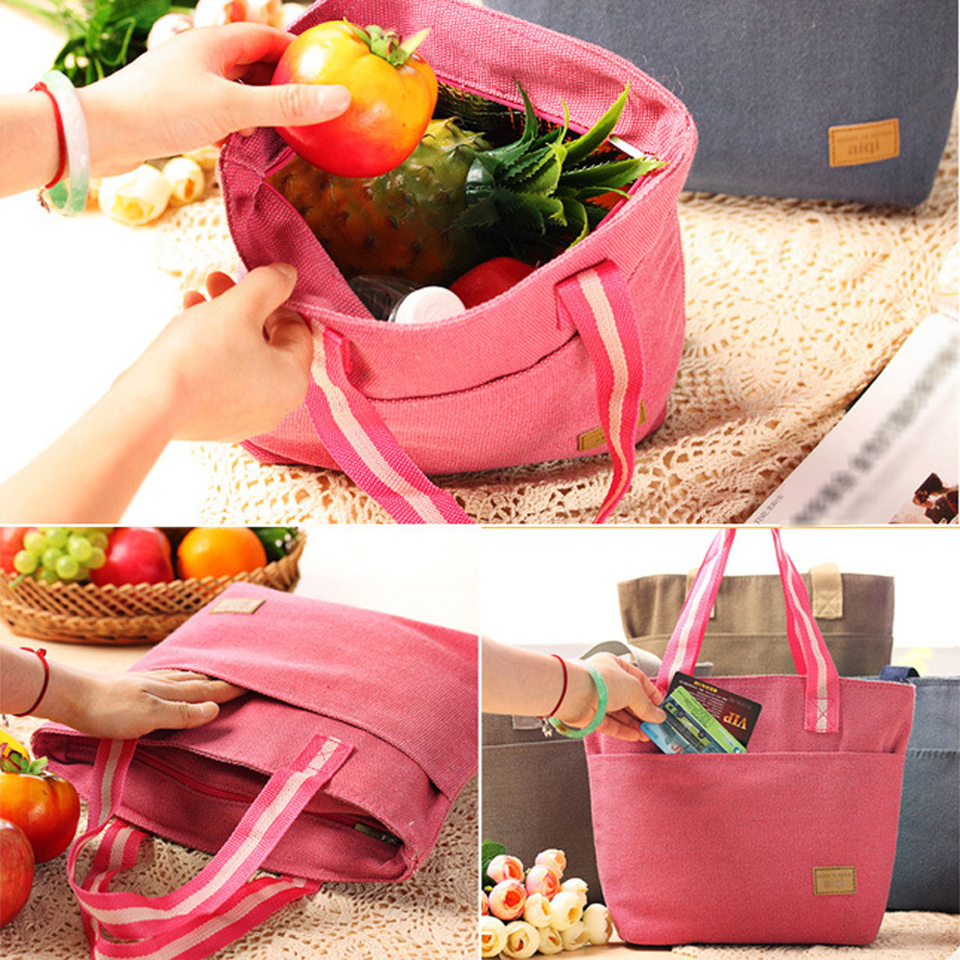 BEST Simple Cotton Linen Lunch Bag Thermal Insulation Bag Outdoor Picnic Lunch Bags Food Carry Storage Picnic Bag Free Shipping(China (Mainland))