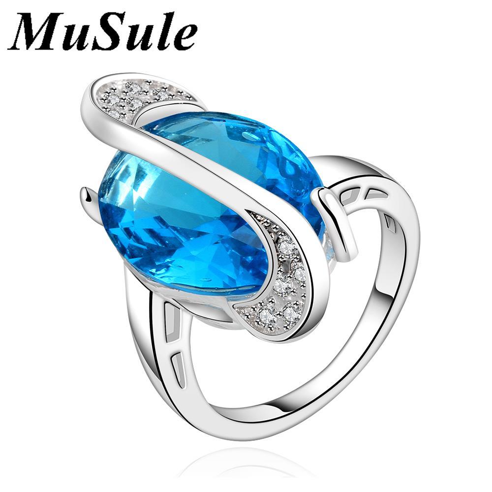Twisted blue fashion jewelry chic factory cheap price Nigerian popular Unique Design Bulk Stock Big Sapphire Single Stone Ring(China (Mainland))