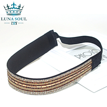 1 pc/lot 2016 LunaSouL New Style Elastic Crystal Rhinestone Leather Headband Hairband Hair Accessories For Women Girl HTD1612