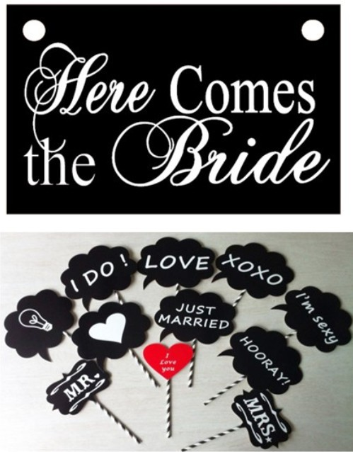 """2015 wedding Photo Booth Props with paper straws Wedding Props sign banner/photography props wedding"""" here comes the bride""""(China (Mainland))"""