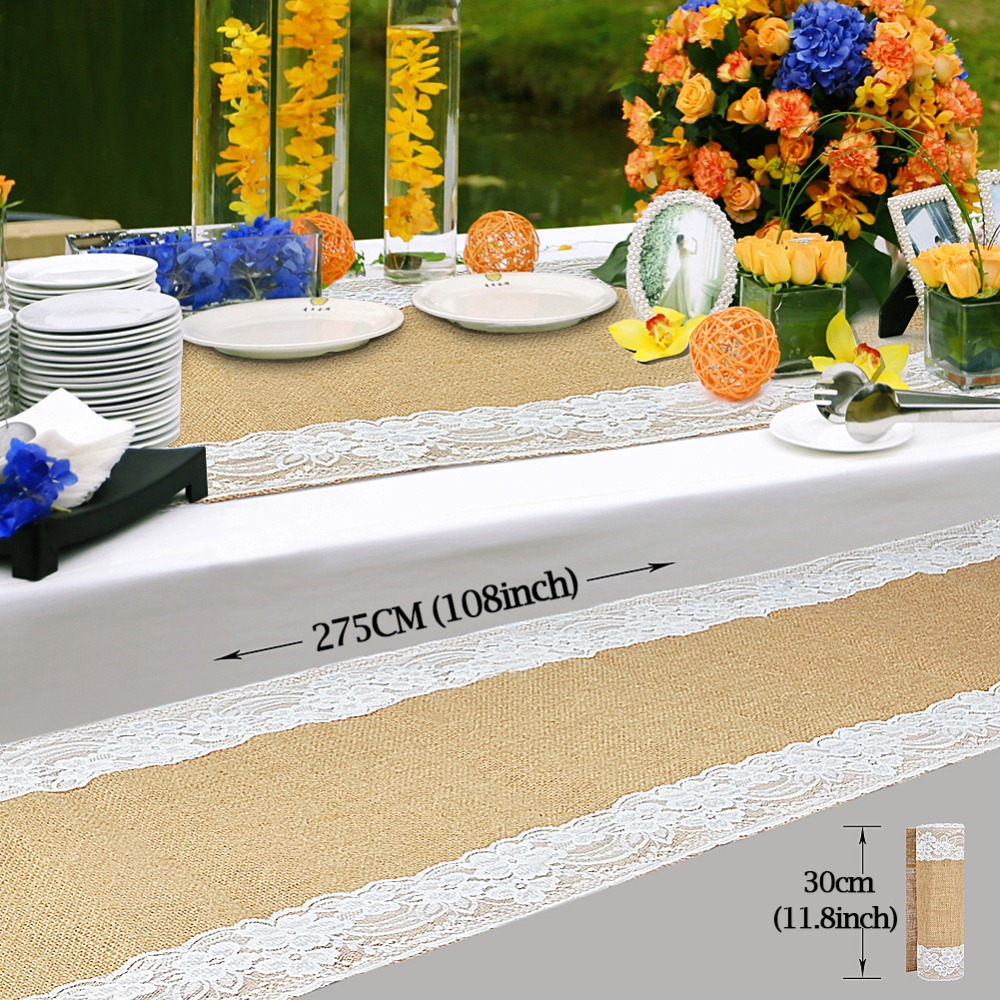 Free DHL 1Vintage Table Runners Wedding Decoration Natural Jute Burlap Lace Runner Party Supplies Home Textile - Our Warm Store store