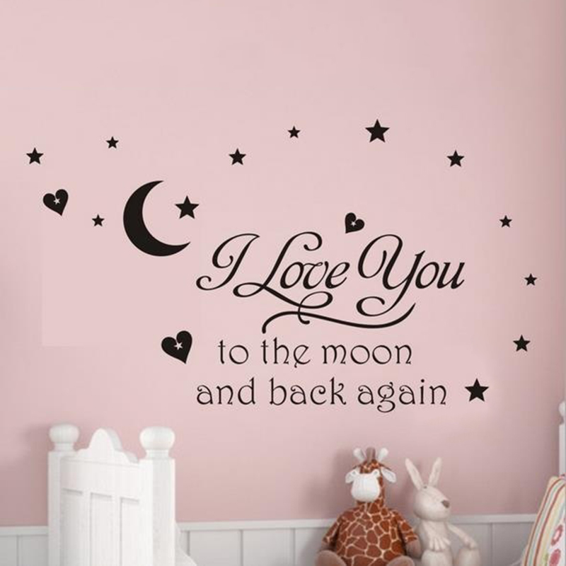 Warm home Waterproof Deligate I Love You Moon Letter Wall sticker Home Decor Vinyl Bathroom living room