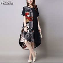 2016 Summer ZANZEA Women Vintage Print Dress Casual Loose O Neck Short Sleeve Irregular Hem Mid-calf Dress Vestidos Plus Size(China (Mainland))