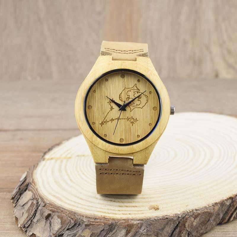 Hot Handmade Wristwatch European horoscope Pisces Customization  Mans  Bamboo Wooden Watch  For  Best Gifts <br><br>Aliexpress