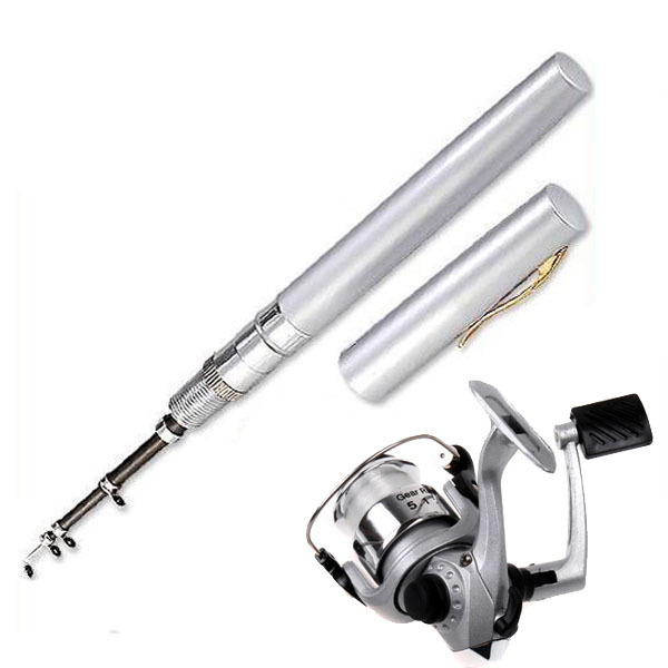Mini Aluminum Alloy Pocket Pen Fishing Rod Pole Reel Line Silver - Jump Soul store