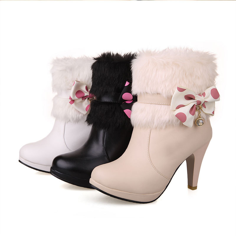 New Winter solid color rhinestone ankle boots comfortable and fashion ankle boots round toe high heeled bowtie boots D3656<br><br>Aliexpress