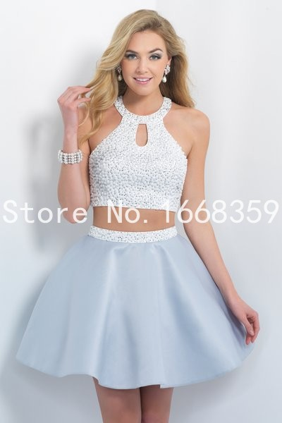 Summer Style Short Prom Dresses Two piece Mini Sexy Pearls ...