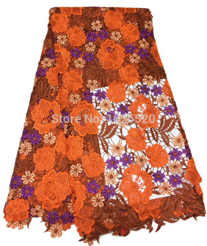 Здесь можно купить  Hot Sale Gorgeous Flower Pattern Design African Cord Lace Fabric High Quality Anti-Uv Water Soluble Lace Embroidered Fabric  Дом и Сад