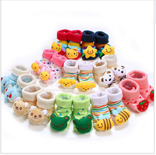 1 Pair Baby sock Anti Slip Newborn 0-18Month Cotton Lovely Cute Shoes Animal Cartoon Slippers Boots Boy Girl  Skid Socks/B12