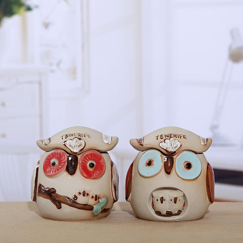home decoration ceramic ashtray owl figurines