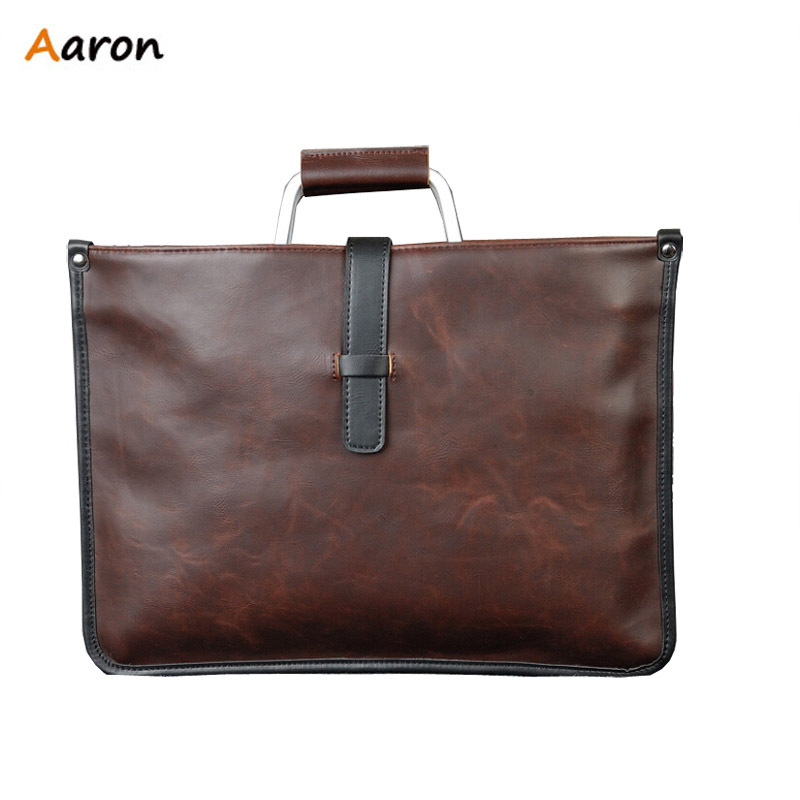 Aaron - Cool British Vintage Style Metal Top-Handle Crazy Horse PU Leather Men Briefcase Bag,Solid Office Men Business Bags New(China (Mainland))