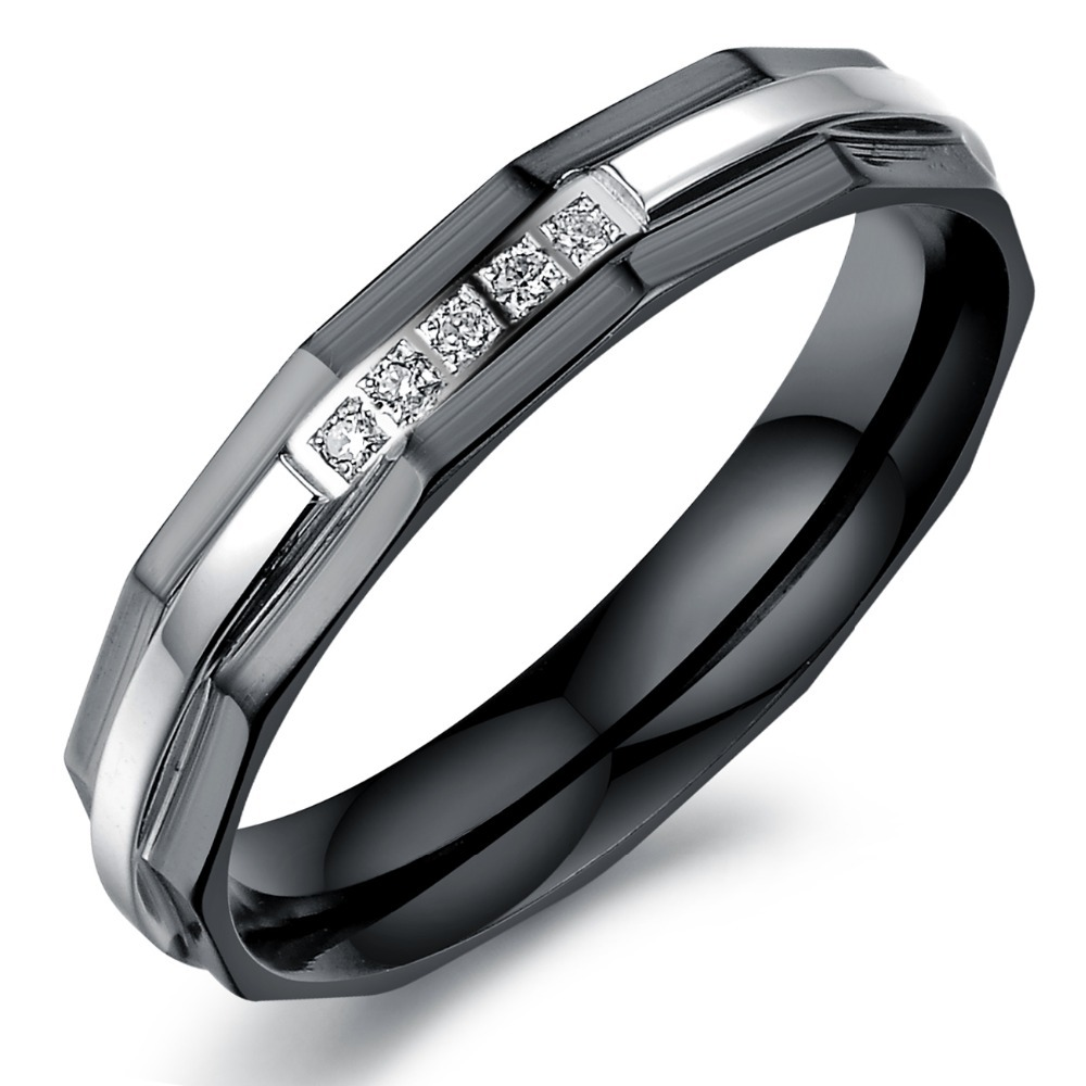 Noir et or Wedding Band Mens