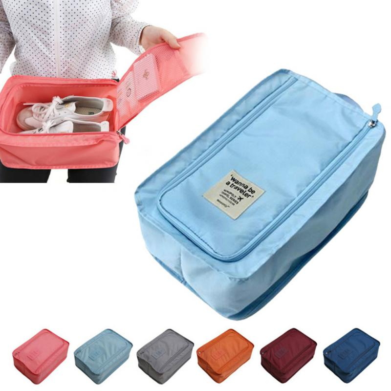 2015 New fashion Nylon & Mesh Travel Portable Tote Shoes Pouch Waterproof Storage Bag 6 colors available retail/wholesale(China (Mainland))