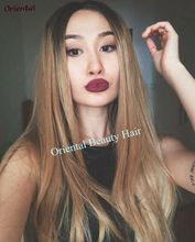 Free Shipping heat resistant hair wig two tone ombre color glueless black blond natural straight synthetic lace front wig(China (Mainland))