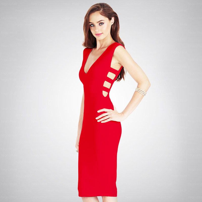 Free Shipping New Arrival 2016 Bodycon Dresses Elegant Woman Red Cut Out Bandage Dresses Knee Length(China (Mainland))