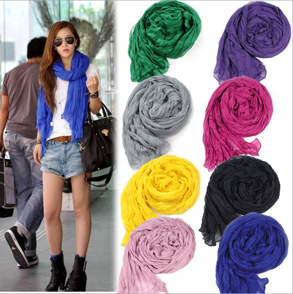 Hot 2015 Women's Fashion Solid Cotton Voile Headband Warm Soft Candy Scarf Shawl 20 Colors India ladies female scarves(China (Mainland))
