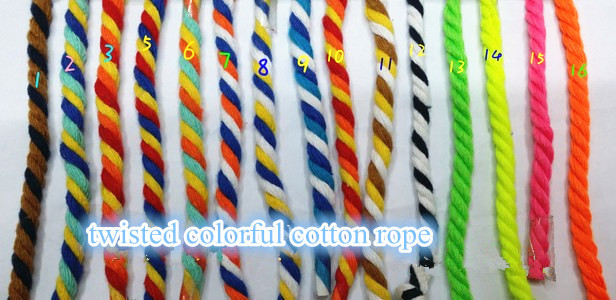 16colors 5mmx 90m 3ply twisted cotton rope colored handle pulley bondage string decorating clothing line free shipping wholesale(China (Mainland))