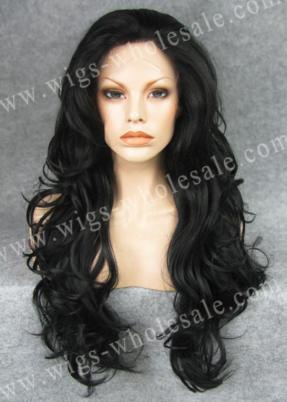 Synthetic hair extension  lace front wigs for kids black  long  wavy By DHL N12-1<br><br>Aliexpress