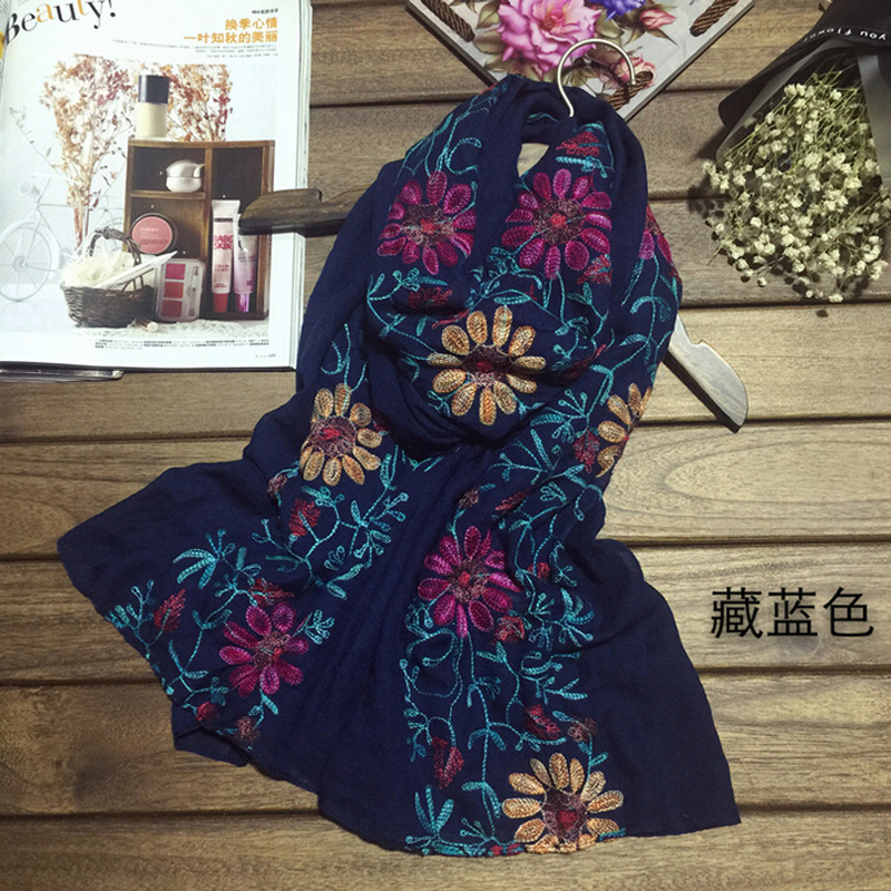 High quality cotton embroidery scarf art flowers ms silk scarves air conditioning is prevented bask in