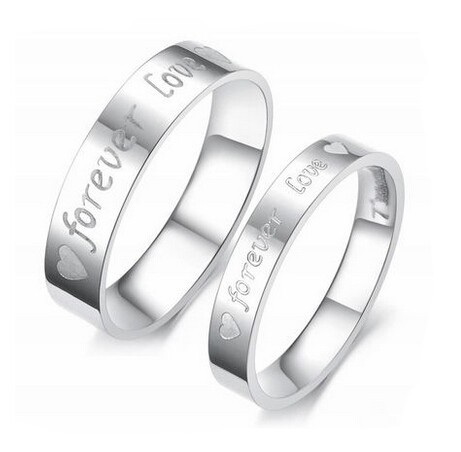 Letter engagement alliance 316L stainless steel Lovers, promise FOREVER LOVE Couple Rings For men and women USA 6-14(Hong Kong)