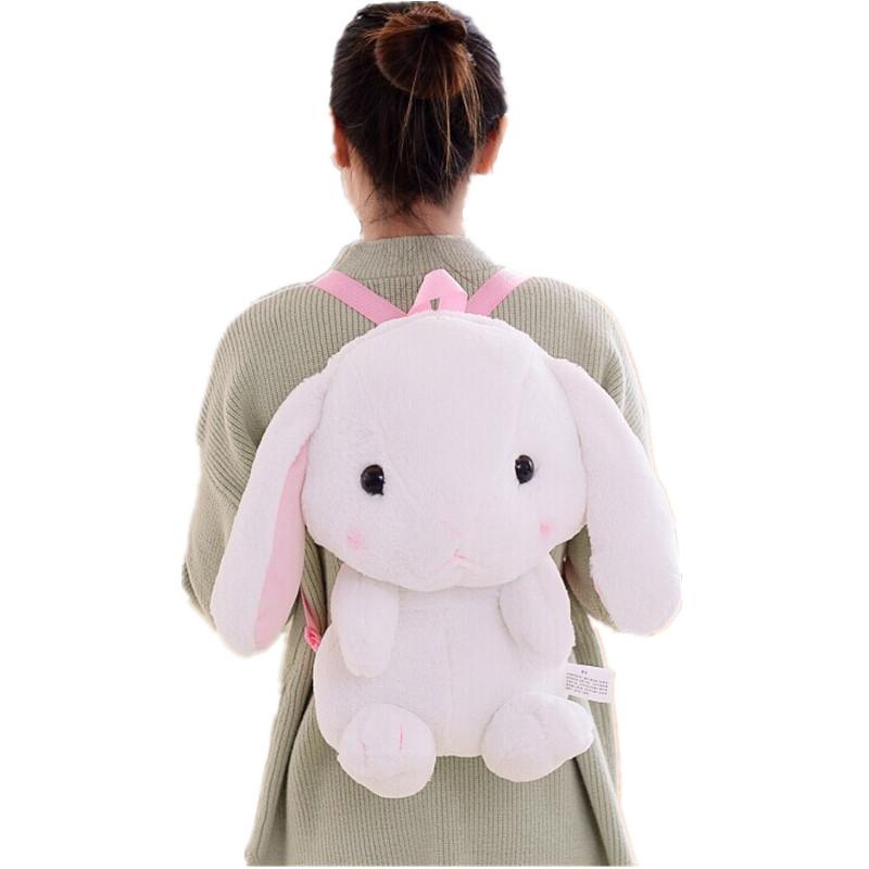 Hot LOLITA Cute Cartoon Big Ears Rabbit Stuffed Shoulder Bag Stuffed Rabbit Doll Backpack Doll Girl Birthday Gift Free Shipping(China (Mainland))