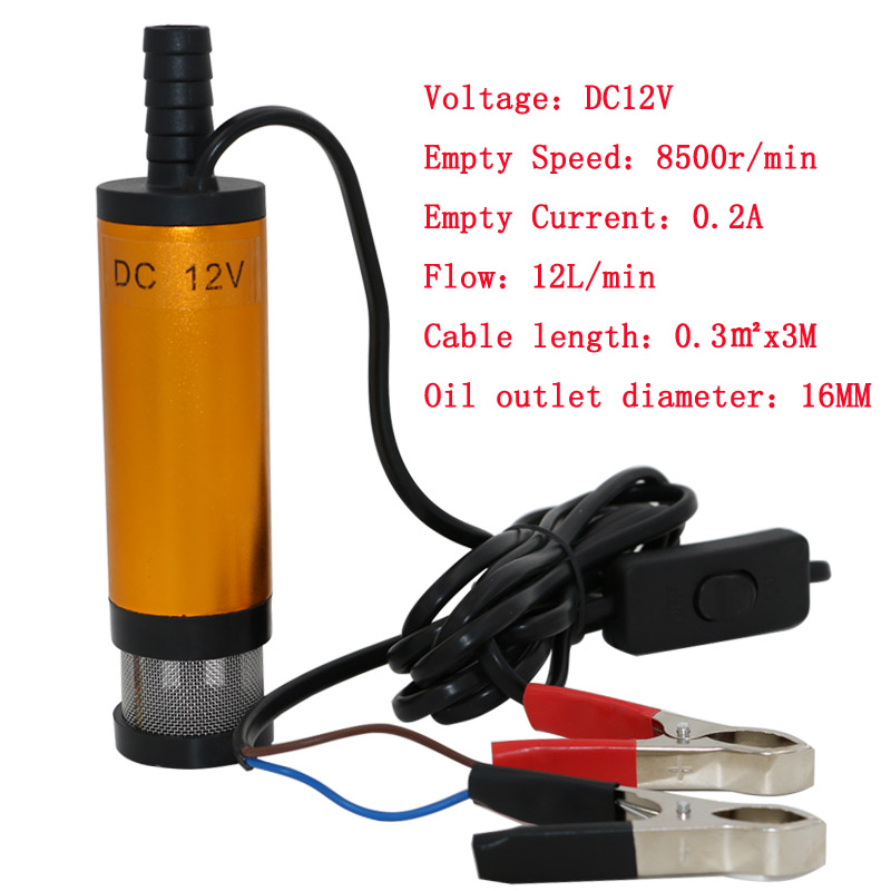 12V DC MINI Diesel Fuel Water Oil Car Camping fishing Submersible Transfer Pump Wholesale Free Shipping(China (Mainland))