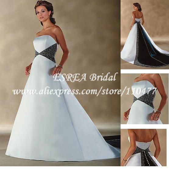Strapless vintage white and navy blue colored embroidered for Color embroidered wedding dress