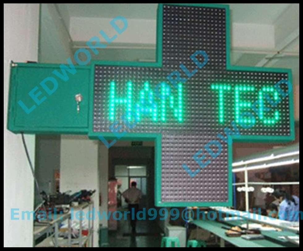 Factory Price High Brightness DIY Animation Outdoor Double Side 800*800 3D P16 Green Display Sign LED Pharmacy Cross(China (Mainland))