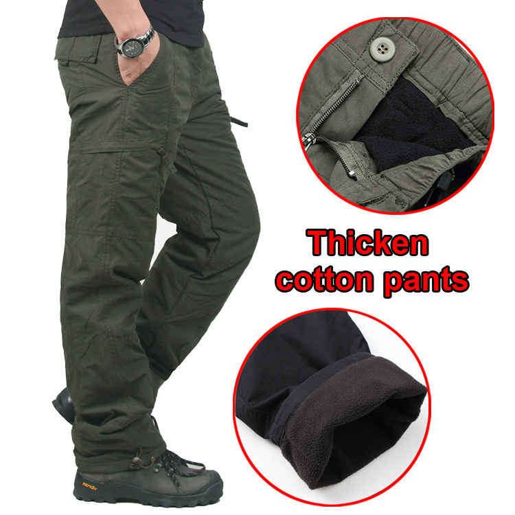 Winter Double Layer Men's Cargo Pants Warm Outdoor Sports Baggy Pants Cotton Trousers For Men Male Military Camouflage Tactical(China (Mainland))