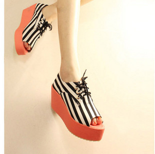 Gladiator style stripe open toe platform shoes lacing wedges sandals - yuxin jiao's store