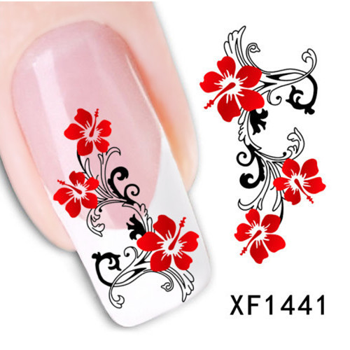 1 Sheet Water Transfer Nail Art Stickers Decal Beauty Cute Sexy Red Flowers Angel Design DIY