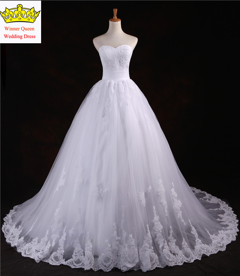New a line lace appliques on tulle wedding dress bridal for Wedding dresses with lace up back