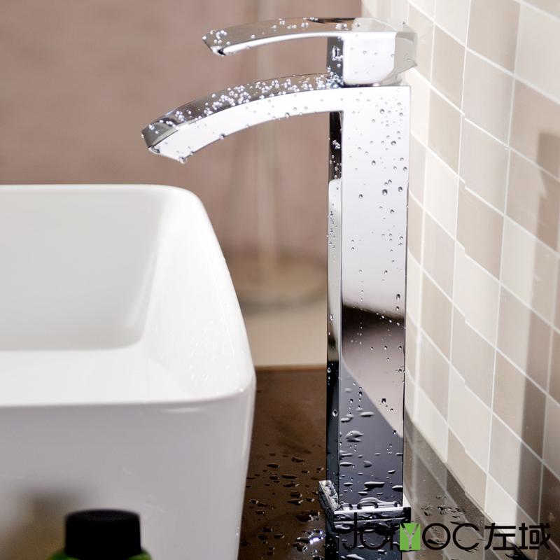 Фотография Freeshipping BAKALA Wholesale Tall Version Single Handle Bathroom Chrome Surface Mounted Waterfall Faucet Brass Mixer Tap  G7033