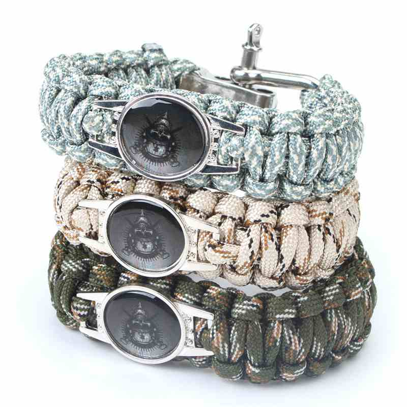 New Fashion Wilderness Survival Rope Rescue Rope Bracelet Camping Multifunction Nylon Rope Chain Bracelet Army Fans Decoration(China (Mainland))