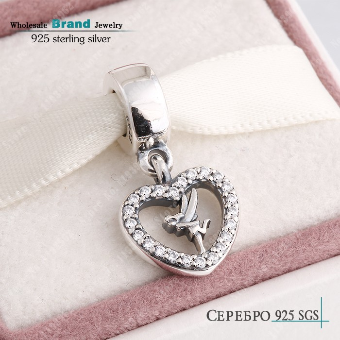 Dangle Clear CZ Tinkerbell Charms Fits Pandora Bracelets Authentic 925 Sterling Silver Tinkerbell Heart Charm Diy Spring Jewelry<br><br>Aliexpress