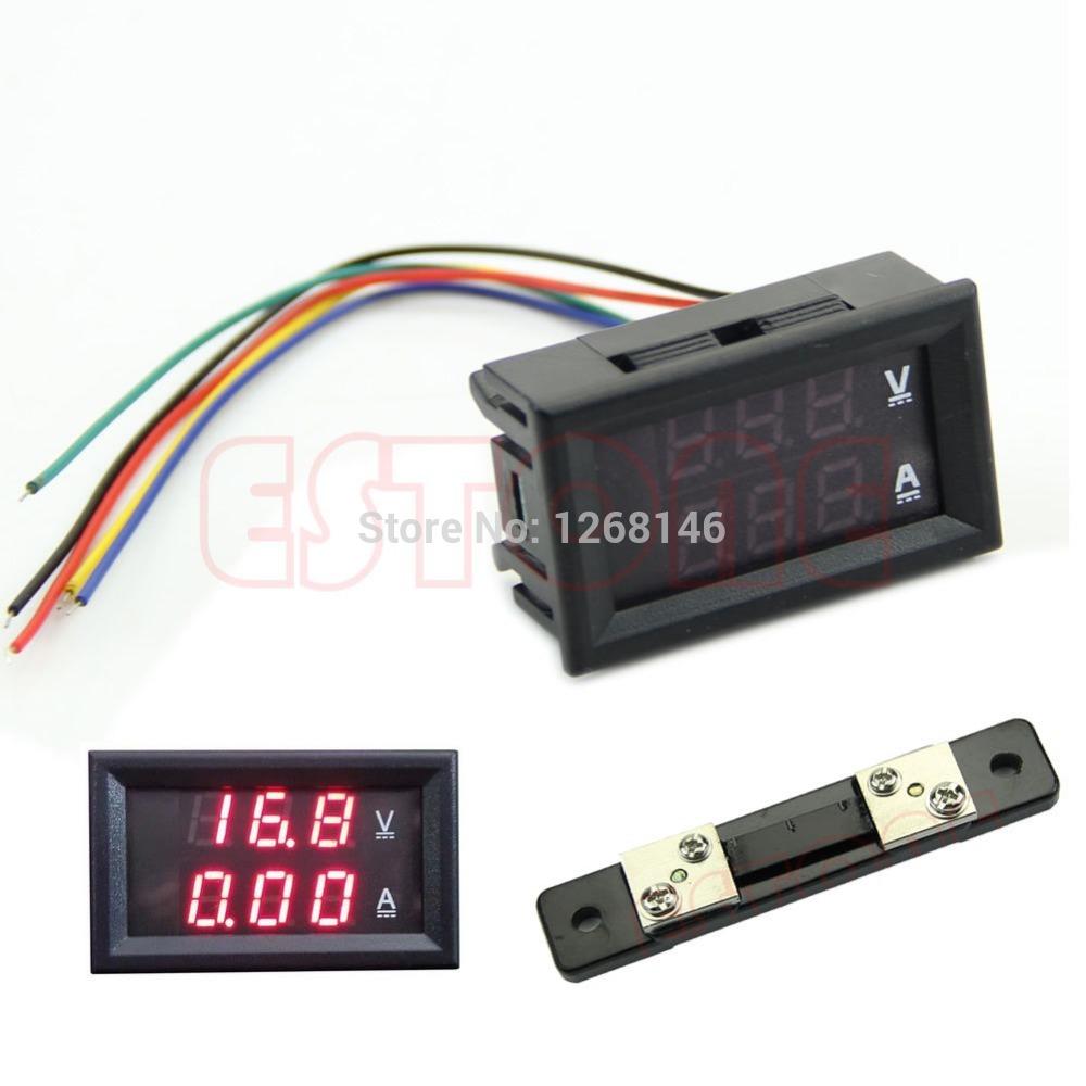 Free Shipping DC 100V 50A Dual Digital Voltmeter Ammeter Red LED Amp Volt Meter+Current Shunt<br><br>Aliexpress