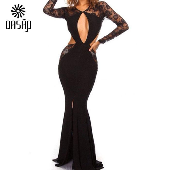 OASAP summer vestido de festa longo com renda Long Sleeve Lace Cut-out Floor Length Floor-Length party Maxi Dress-55651(China (Mainland))