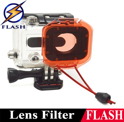 gopro accessories filter hero 3 filter Go pro Underwater Under Sea Housing Diving Dive Lens Filter for Hero 3 Red With lanyard(China (Mainland))