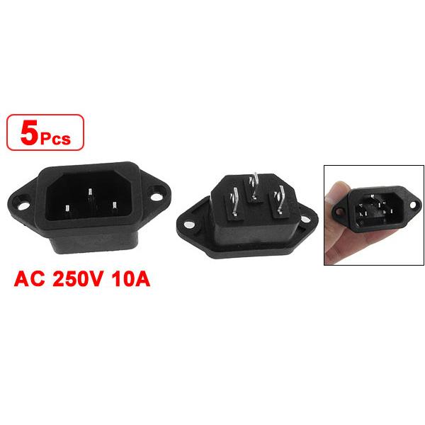 5 Pcs 3P IEC 320 C14 Male Plug Panel Power Inlet Sockets Connectors AC 250V 10A(China (Mainland))