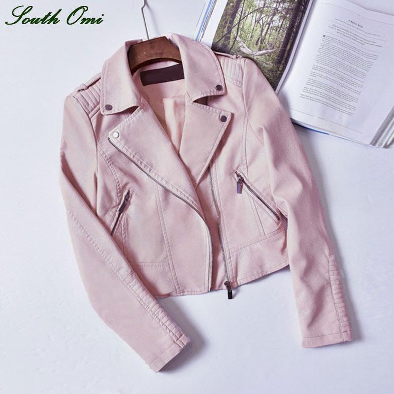2016 Black Pink Leather Jackets Motorcycle Jacket Pu Black Blazer Coat Zip Up Bomber Jacket Coat blouson cuir Amazing Pastel(China (Mainland))