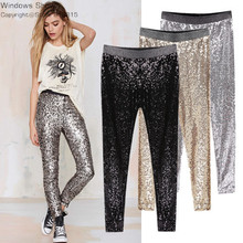 GP8 New Celeb Style Womens Stretchable Sparkle Metallic Shinning Full Sequined Pants Slim Skinny Pencil Pants Free Drop Shipping(China (Mainland))