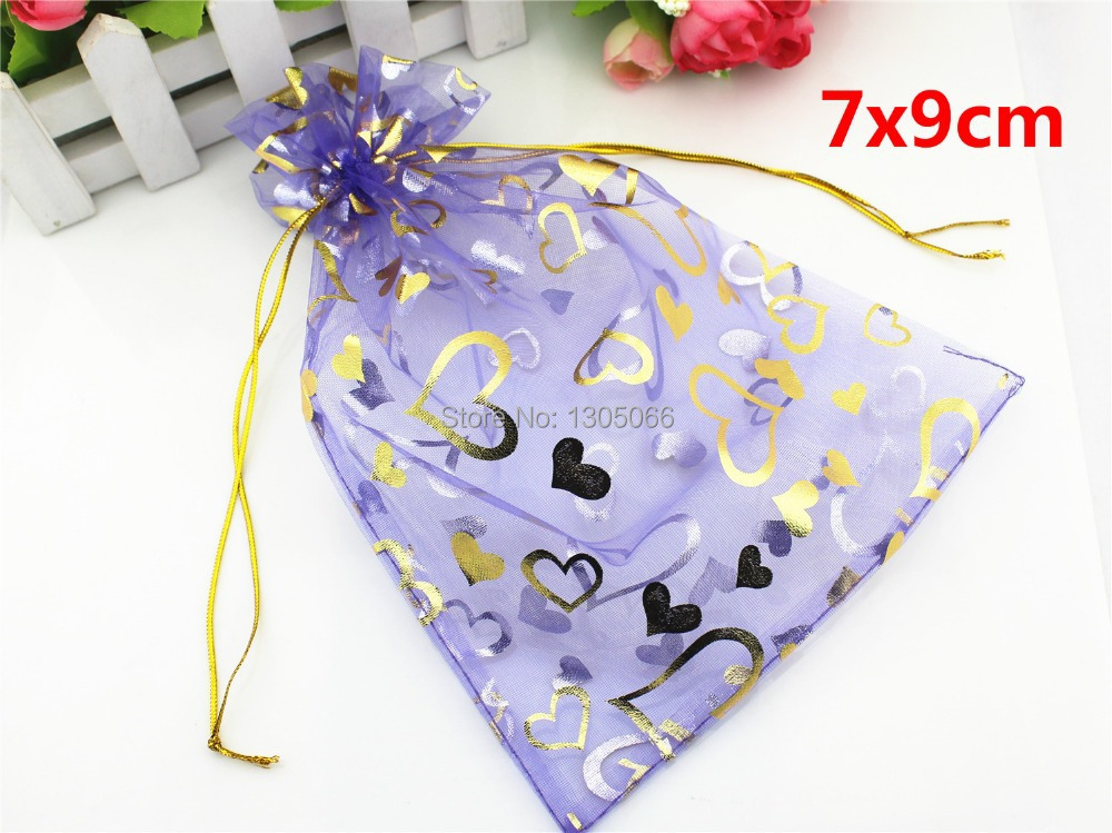 100 PCS 7x9CM (2.8x3.6 Inches) Lavender Organza Gift Packing Bag Heart Printed Organza Bags For Jewelry Packing Drawstring(China (Mainland))