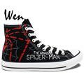 Spider Man Black High Top Painted Canvas Shoes Man Woman Hand Painted Art Wen Sneakers Girls