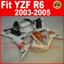 Custom motorcycle body fairings kit for YAMAHA 2003 YZFR6 2004 2005 YZF R6 03 04 05 YZFR600 white orange fairing bodywork part