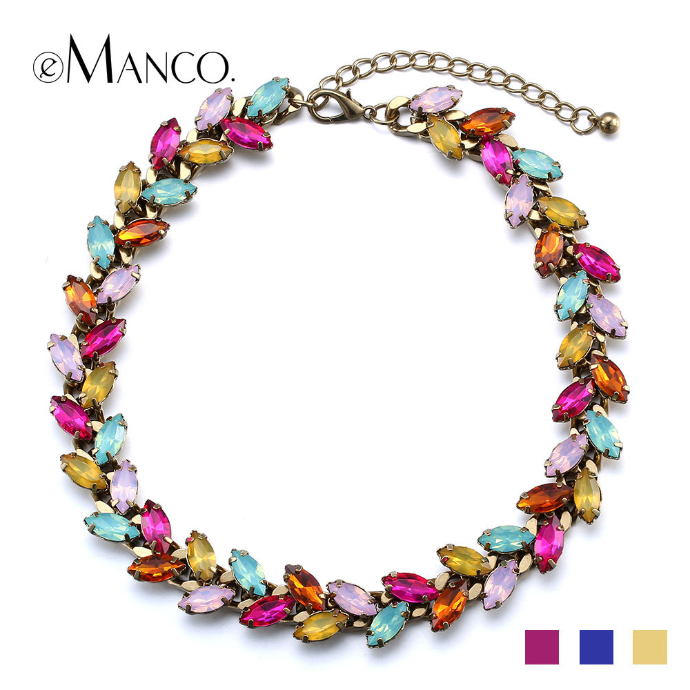 //Horse eye crystal colorful necklace// charming crystal chokers copper titanium necklace collier 2015 femme eManco NL13118(China (Mainland))