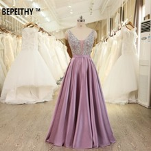 BEPEITHY V-Neck Beads Bodice Open Back A Line Long Evening Dress Party Elegant Vestido De Festa Fast Shipping Prom Gowns(China)