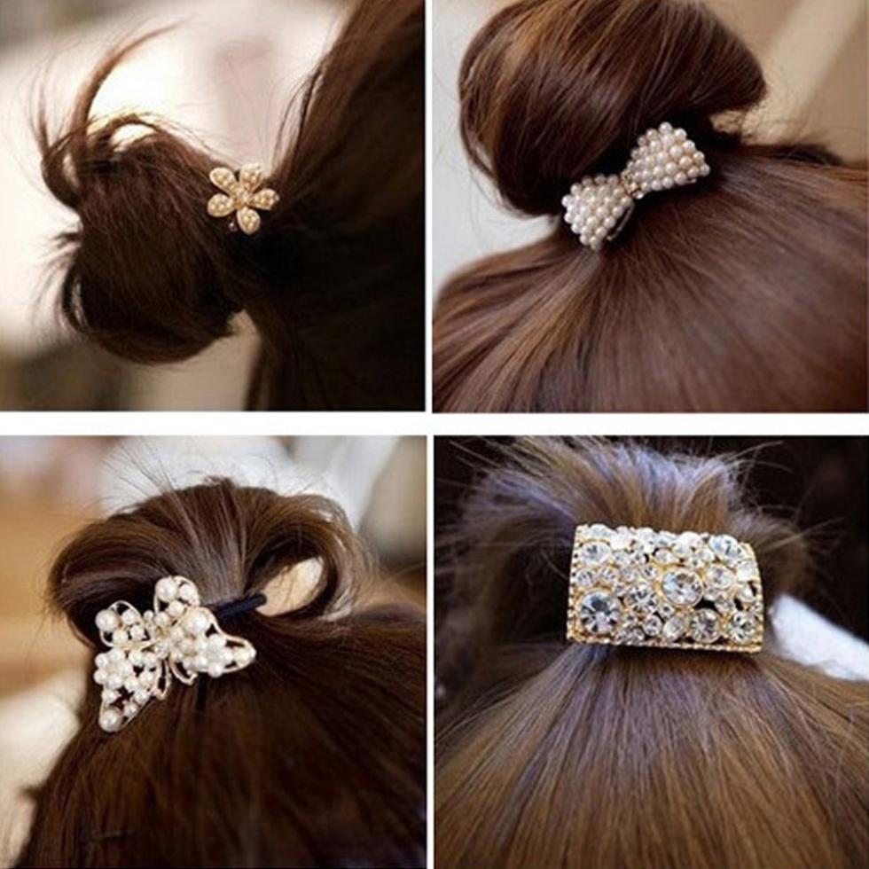 Korean Star Pearl Crystal Rhinestone Flower Headband Ponytail Holder Hair Rope Band Hairband fashion(China (Mainland))