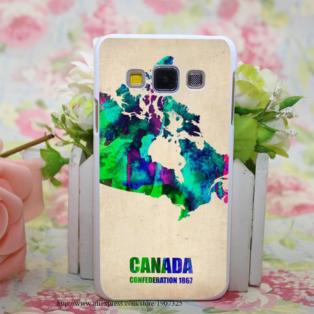 Canada Watercolor Map Style Hard White Case Cover for Samsung Galaxy A3 A5 A7 A8 Note 2 3 4 5(China (Mainland))