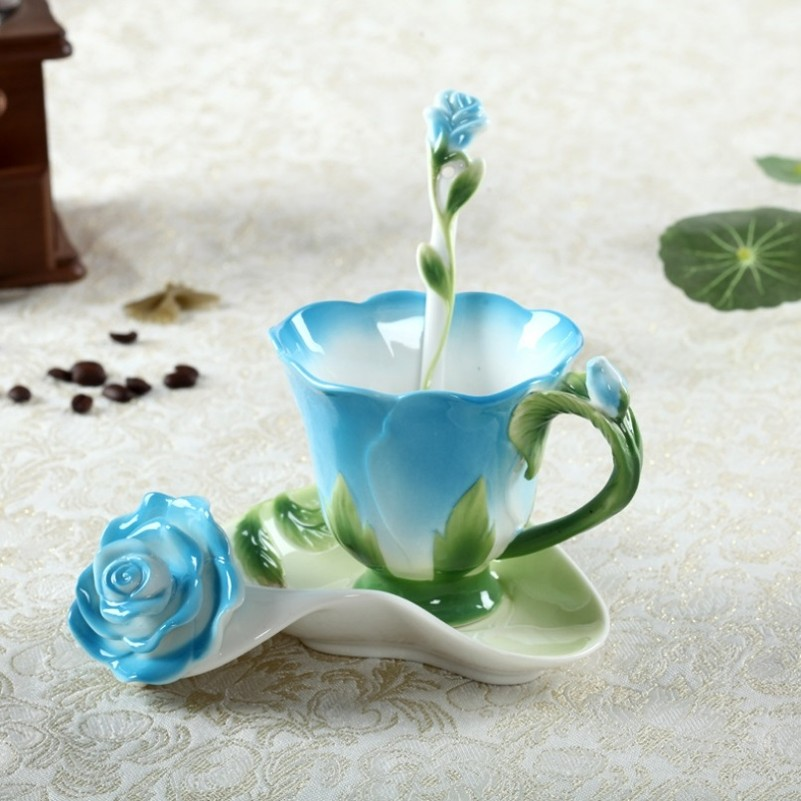 Creative Rose Flower Coffee Cup Chinese Ceramic Tea And Coffee Cups Set 1pc Bone Mug With 1pc Saucer And 1pc Spoon Lovely Gift(China (Mainland))